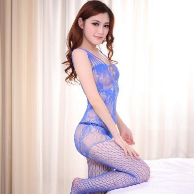 【情趣内衣】- 沐涩Muse 蓝色妖姬超大洞露乳诱惑性感紧身开裆网衣连体袜