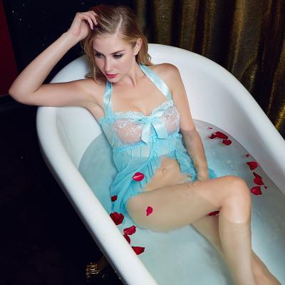 【情趣内衣】- 爱赞 蓝色挂脖系带性感睡裙蕾丝透纱诱惑两件套