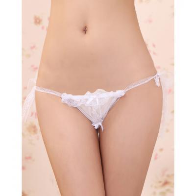 【情趣内衣】- 爱赞 白色侧臀系带 开裆透视性感丁字裤
