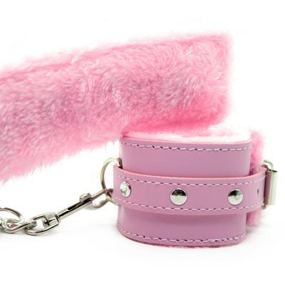 毛绒手铐成人玩具 手脚束缚 粉色