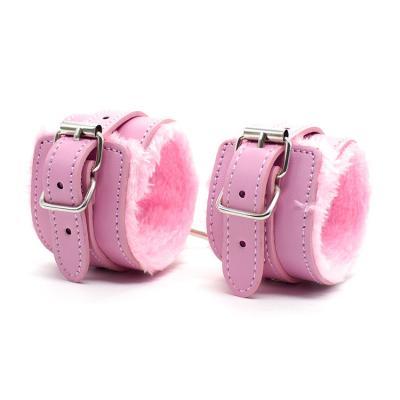 毛绒脚铐成人玩具 手脚束缚 粉色