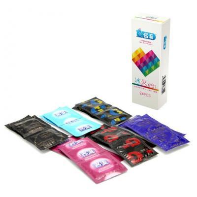 名流冰火6合1组合24只装冰火超薄G点颗粒凸点螺纹避孕套9