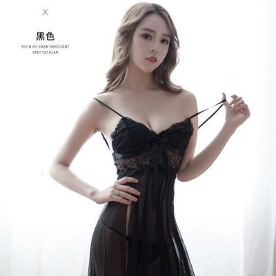 霏慕女式轻薄网纱开衩裙摆性感吊带睡衣睡裙外贸(7834黑)